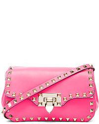 Valentino Rockstud Crossbody Bag In Fluo Pink