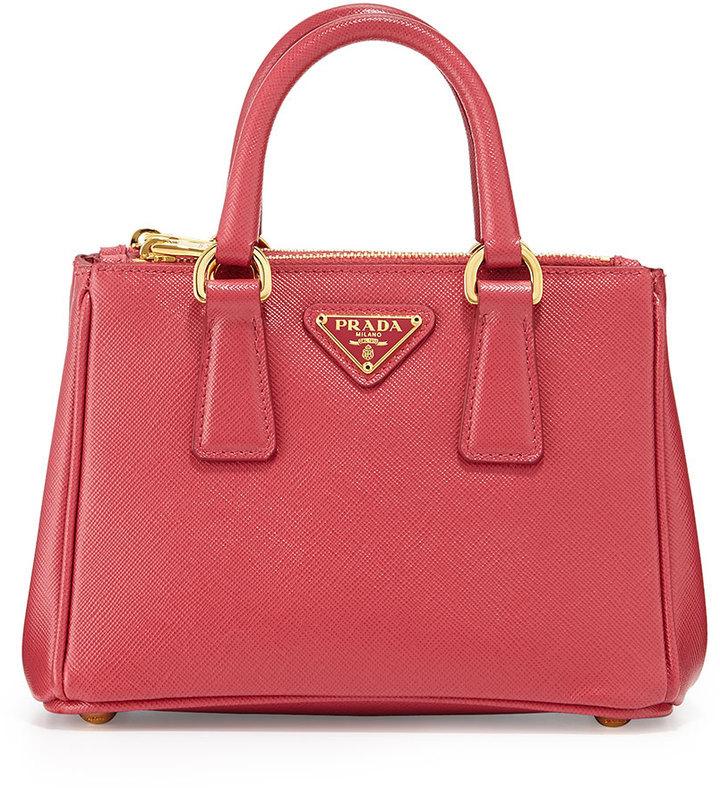 afcc9a6a7c12a ... Prada Saffiano Mini Galleria Crossbody Bag Pink ...