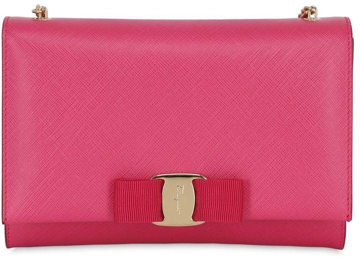 521d4e04e3cb ... Salvatore Ferragamo Bow Saffiano Leather Shoulder Bag ...