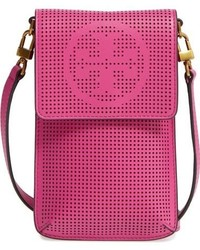 Tory Burch Perforated Leather Smartphone Crossbody Bag Pink