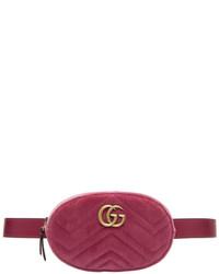 Gucci Pink Velvet Gg Marmont Matelass Belt Bag