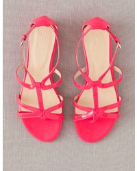 Boden Brand New Patent Leather T Bar Sandals Bright Fluro Pink Flat