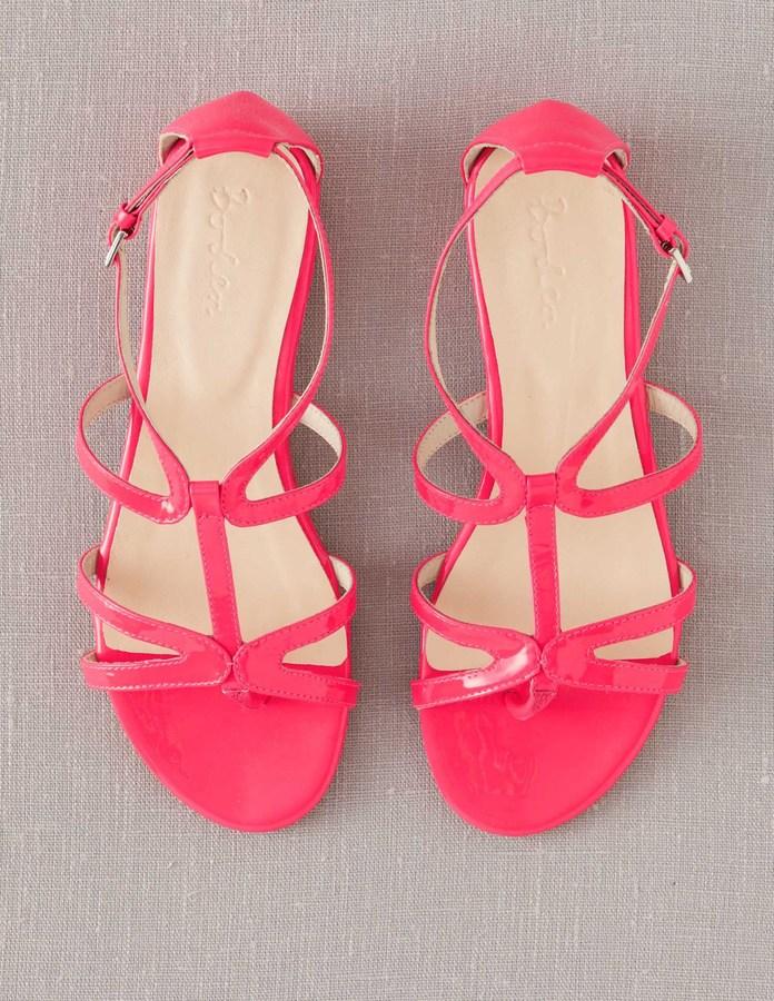 9ffd48f2e101 Boden Brand New Patent Leather T Bar Sandals Bright Fluro Pink Flat ...