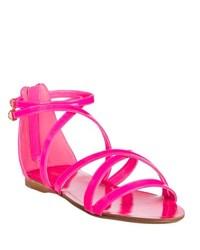 Miu Miu Miu Neon Pink Patent Leather Strappy Flat Sandals