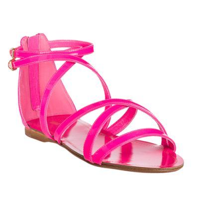 35c2f9e88b637a ... Miu Miu Miu Neon Pink Patent Leather Strappy Flat Sandals