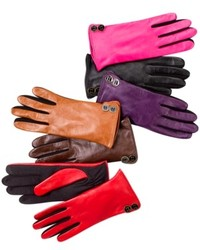 Charter Club Leather Tech Button Trim Gloves