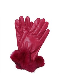 Next Standard Leather Gloves Genuine Leather Rabbit Fur Pink