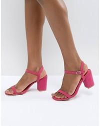 Glamorous Pink Block Heel Sandals