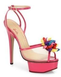 Charlotte Olympia Pomeline Barbie Shoe Mesh Patent Leather Platform Sandals