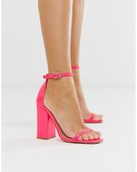 SIMMI Shoes Simmi London Joice Fuschia Patent Square Toe Heeled Sandals