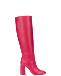 RED Valentino Red Knee High Boots