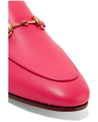 d248c3a0bf9 ... Gucci Brixton Horsebit Detailed Leather Collapsible Heel Loafers Fuchsia  ...
