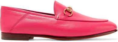 c39cec0f9f98 ... Gucci Brixton Horsebit Detailed Leather Collapsible Heel Loafers  Fuchsia ...