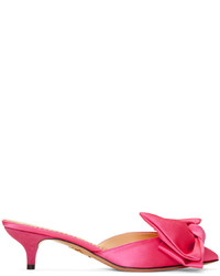 Charlotte Olympia Pink Satin Sophie Mules