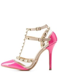 Charlotte Russe Studded Strappy Pointed Toe Pumps