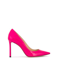 Jimmy Choo Hot Pink Romy 100 Patent Leather Pumps