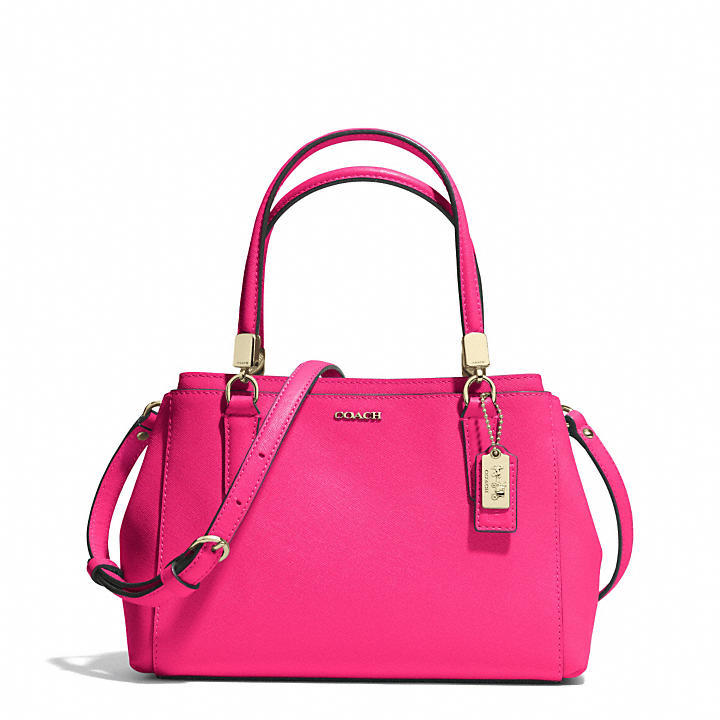 coach pink and gray purse aujs  coach hot pink