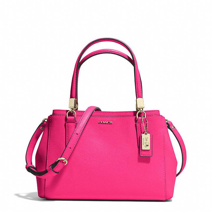 hot pink leather satchel bag coach madison mini christie. Black Bedroom Furniture Sets. Home Design Ideas