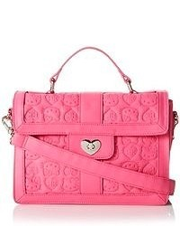 Pink embossed satchel wheart lock top handle bag medium 50070