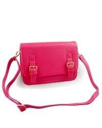 TheDapperTie Pink Crossbody Rose Gold Toned Hardware Top Zip Closure Handbag A128