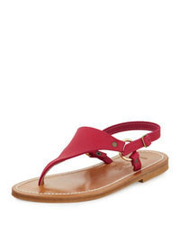 K. Jacques Triton Leather Thong Sandal Dark Pink