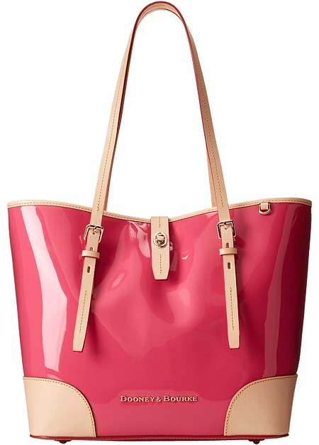 Pink Leather Tote Bags Dooney Bourke Claremont Patent Dover