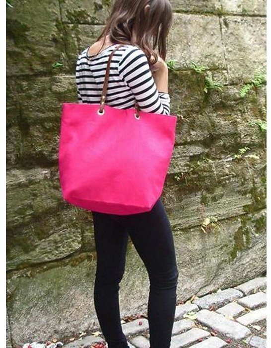 Independent Reign Linen And Leather Tote Bag Hot Pink | Where to ...