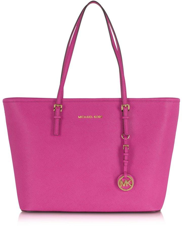 5652678d1508 ... Hot Pink Leather Tote Bags Michael Kors Michl Kors Jet Set Travel Top  Zip Tote ...