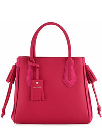 Longchamp Pnlope Small Leather Suede Tote Bag Pink