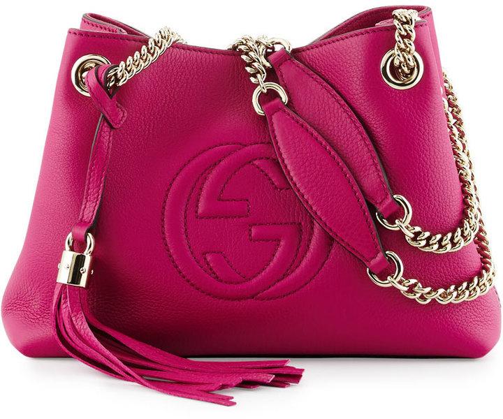 970247664c2 ... Gucci Soho Small Leather Tote Bag W Chain Straps Bright Pink ...