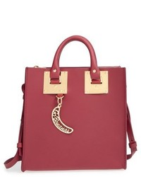 Sophie Hulme Square Leather Tote Red
