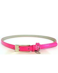 Overstock Pink Patent Leather Skinny Belt