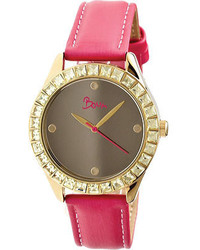 Boum Chic Silver Bm2006 Hot Pink Leathersilver Wrist Watches