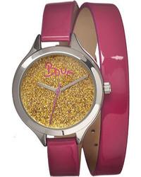 Boum Confetti Bm1201 Hot Pink Leathergold Glitter Wrist Watches