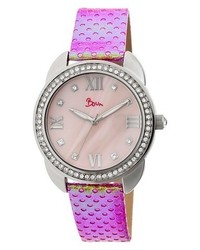 Dial Boum Forte Watch With Mother Of Pearl Dial And Chameleon Color Changing Genuine Leather Strap Silverpink