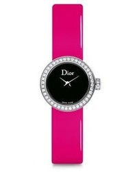 Christian Dior Dior La Mini D De Dior Diamond Stainless Steel Pink Patent Leather Strap Watch