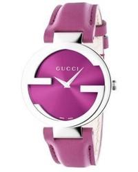 Gucci Interlocking Stainless Steel Leather Strap Watchpink