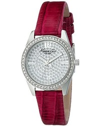 Kenneth Cole New York Kc2843 Classic Crystal Accented Stainless Steel Watch With Red Leather Band