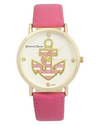 Journee Collection Round Face Anchor Simulated Leather Strap Watch
