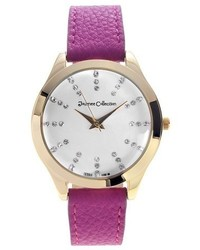 Journee Collection Round Face Rhinestone Marker Strap Watch