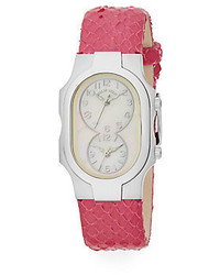 Signature mother of pearl stainless steel embossed leather strap chronograph watch medium 449155