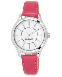 Nine West Silvertone And Faux Leather Watch