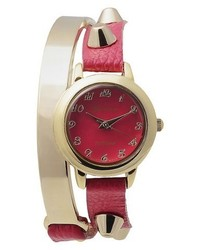 Geneva Platinum Stud Accent Simulated Leather And Metal Wrap Watch Pink