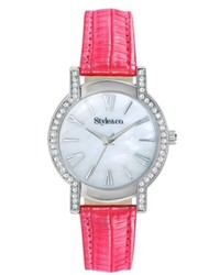 Style&co. Watch Pink Faux Leather Strap 35mm Sc1374