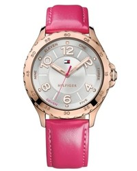 Tommy Hilfiger Pink Leather Strap Watch 40mm 1781400