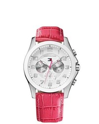 Tommy Hilfiger Taylor Pink Leather Strap Watch
