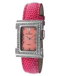 Peugeot Watches Leather Strap With Crystal Dial Watch Pink