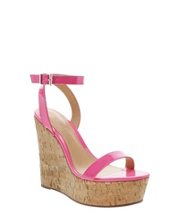 Hot Pink Leather Wedge Sandals