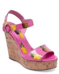 Pineapple patent leather cork wedge sandals medium 3716891