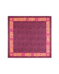 Gucci Leos Arles Modal Silk Leopard Print Scarf